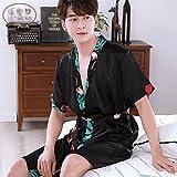 Bademäntel ZLR Herren Nachthemden Frühling Sommer Paare Seide Pyjamas Frauen Schlaf Kleider Dünne Größen Kurzarm (Farbe : Schwarz, Größe : Men -XXL)