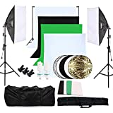OUBO Profi Fotostudio Set 4X Hintergrundstoff (schwarz, 2x weiß, grün) Softbox Studioleuchte Studiosets Hintergrund Fotoleinwand inkl. 5in1 Reflektor Ø60cm Stativ Studio Lampen Schutztasche