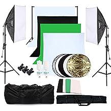 OUBO Profi Fotostudio Set 4X Hintergrundstoff (schwarz, 2x weiß, grün) Softbox Studioleuchte Studiosets Hintergrund Fotoleinwand inkl. 5in1 Reflektor 60cm Stativ Studio Lampen Schutztasche