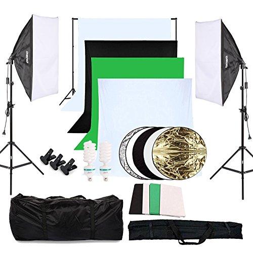 fotostudio lampen OUBO Profi Fotostudio Set 4X Hintergrundstoff (schwarz, 2X weiß, grün) Softbox Studioleuchte Studiosets Hintergrund Fotoleinwand inkl. 5in1 Reflektor 60cm Stativ Studio Lampen Schutztasche