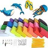 Rubikliss Pâte Polymère - 24 couleurs Safe et non toxique Pâte Polymère, DIY Clay Kit avec outils de modélisation, et accessoires,meilleur cadeau pour les enfants (Couleur)