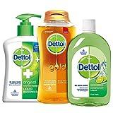 Dettol Bathroom Essentials Kit (Hand Wash Pump - 200 ml, Gold Classic Clean Body Wash - 250 ml, Hygiene Liquid - 200 ml)