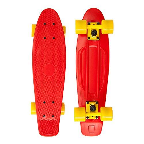 Apollo Fancy Skateboard, Vintage Mini Cruiser, Komplettboard, 22.5inch (57,15 cm), Mini-Board mit Holz oder Kunstsoff Deck mit und ohne LED Wheels, Farbe: rot/gelb
