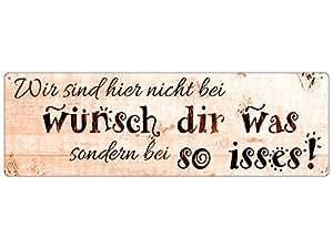 """Poster de porte de style shabby chic affiche métallique avec inscription en allemand """"wIR sIND hIER nICHT bEI wÜNSCH dIR wAS"""