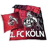 Unbekannt 1. FC Köln Bettwäsche Leuchtend 2-teilig (Bezug, Kissen) - Plus Lesezeichen I Love Köln
