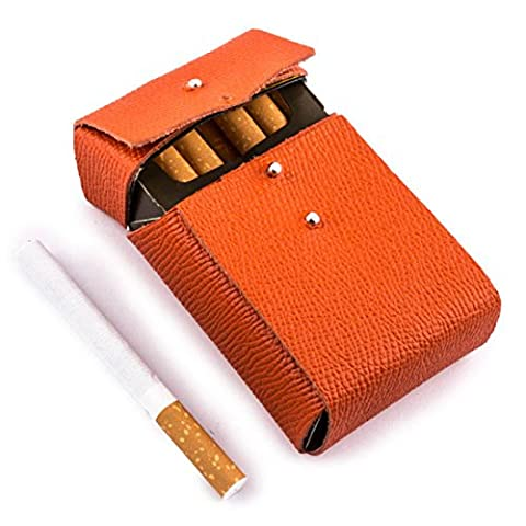 "Etui luxe porte paquets de cigarettes taille standard cuir orange ""Made in France"""