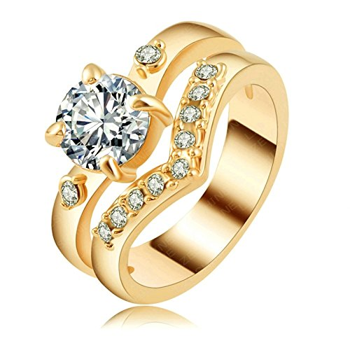 Gnzoe Schmuck Vergoldet Ringe Damen Verlobungsringe Damenringe 18K Vergoldet Antragsringe Weiblich Gr.57 (Weibliche Gangster)