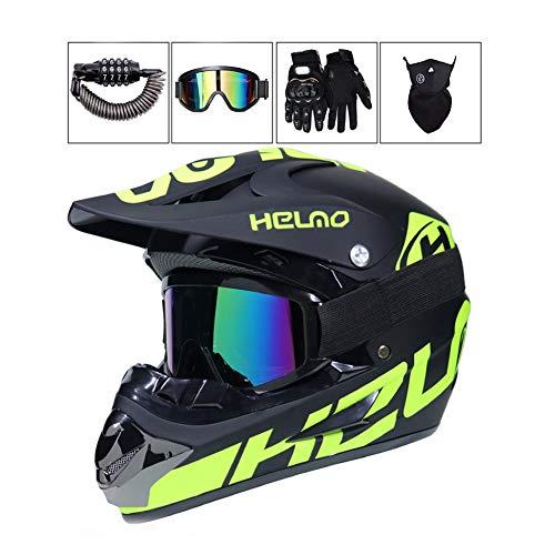 LEENY Motocross-Helm - Herren Motorrad Off-Road-Helm mit Brille/Maske/Handschuhe/Sicherheitsschloss, Cross-Helm Motorradfahren Enduro ATV BMX Quad Motorräder-Helm für Männer Damens,XL - Fox Racing Mädchen Handschuh