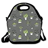 ziHeadwear Succulent Repeating Pattern Lunch Box Tote Bag Cool