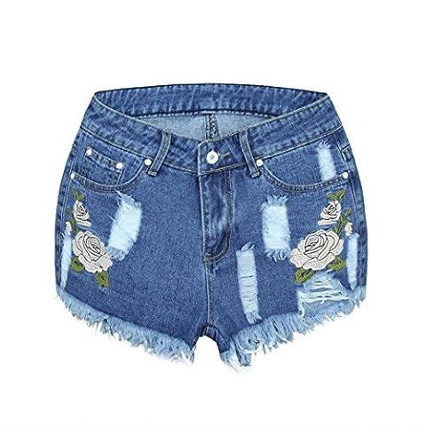 OVERMAL Les Femmes Shorts Taille Haute, LâChe Jean Floral Portent Des Shorts En Jean (XXL)