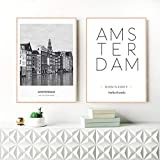 SRDFDF Paesi Bassi Amsterdam Paesaggio Foto Tela Pittura Foto Arte Parete, Città Poster Amsterdam Coordinate (50x70cmx2 Senza Cornice)