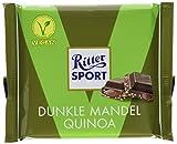 RITTER SPORT Dunkle Mandel Quinoa (100 g), Vegane Schokolade, verfeinert mit ganzen Mandeln und knusprigen Quinoacrisps, Halbbitterschokolade