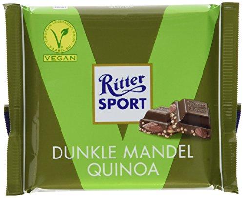 (RITTER SPORT Dunkle Mandel Quinoa (100 g), Vegane Schokolade, verfeinert mit ganzen Mandeln und knusprigen Quinoacrisps, Halbbitterschokolade)