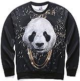 Pizoff Unisex Hip Hop Sweatshirts mit 3D Digital Panda Golden Kette Goldhalskette Print 3D Muster Y1627-49-XL