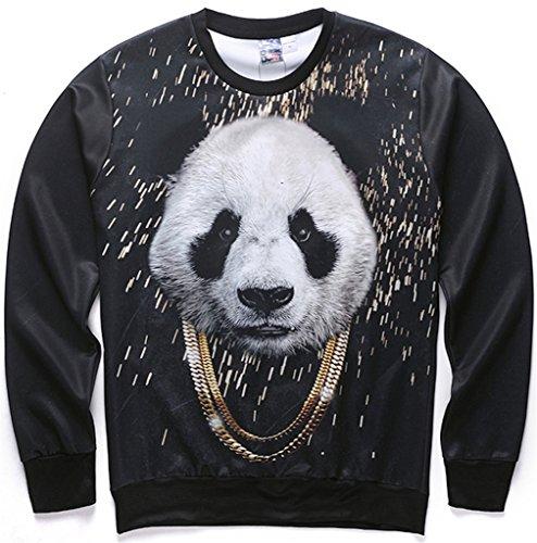 Varsity Hoody Sweatshirt (Pizoff Unisex Hip Hop Sweatshirts mit 3D Digital panda golden kette Goldhalskette Print 3D Muster Y1627-49-S)