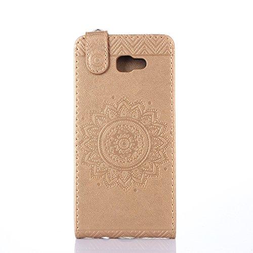Galaxy J5 2017 Hülle Leder Tasche Flip Cover Samsung Galaxy J520 Wallet Case Alfort Stilvoll Handycover Blau Mandala Blumen Muster PU Ledercase Brieftasche Handyhülle für Samsung Galaxy J5 2017 / J520 Golden