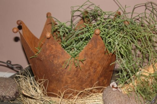 rouille Noble déco couronne, rouillé métal CACHE-POT avec plaque de base, pot de fleurs