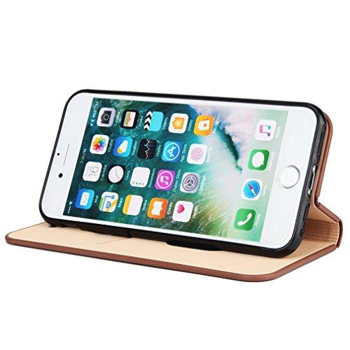 2017 Neu Hochwertige Kohlefaser automatische Saug-Schnalle Hülle Case ,TPU + Leder Cover Full Body Schutz für apple iphone 7plus (Braun) Braun