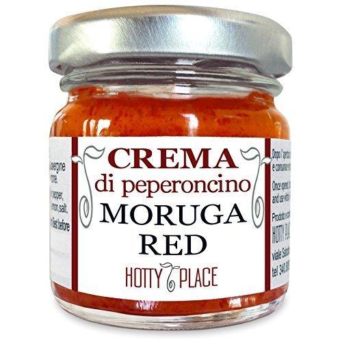 Crema MORUGA RED ROSSO Scorpion Trinidad Peperoncino Piccante ESTREMO Fruttato 2°posto nel Guinness World Record VASO VETRO 30g