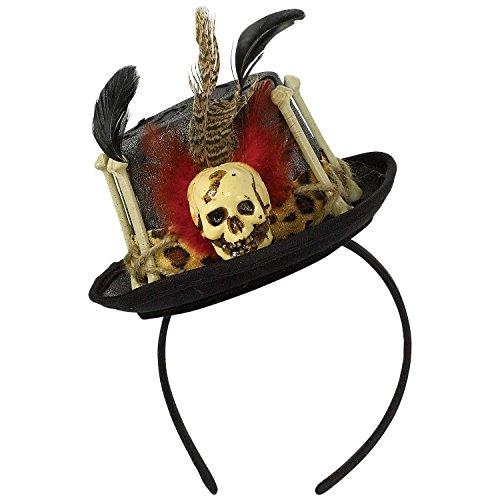 Mini Zylinder zum Voodoo Priester Kostüm - Hochwertiger Hut - perfekt zu Hexe, Voodoodoktor oder Zigeuner (Voodoo Hexe Kostüm)