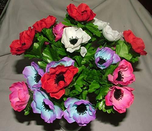 Touffe d'anémones artificielles en soie avec feuilles – (21 ou 42 têtes), 21 Flowers