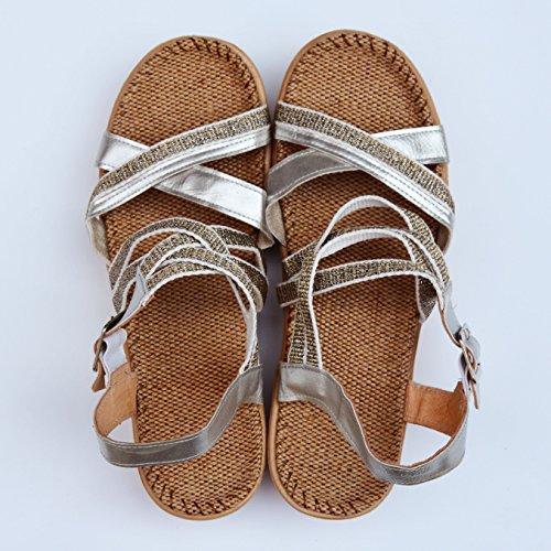fan4zame Leinen Sandalen Damen Sohle Foot Pads Sommer Damen Sandalen Schuhe Cool bequem atmungsaktiv K-37 Silver