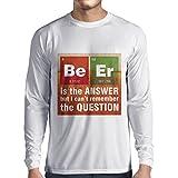 N4520L T-Shirt mit langen Ärmeln Das Bier ist die Antwort (X-Large Weiß Mehrfarben)