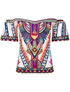 Beauty7 Off Hombro Cold Shoulder Florales Colores Impresiones Camisetas Mujer Verano Playa Vacaciones Tops T Shirt...