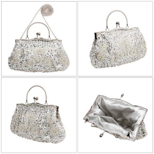 BCM - Borsetta clutch da sera chiusura rigida decorata con paillettes interno in satin Argento