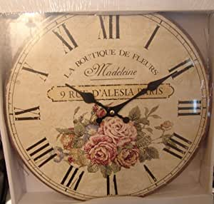Large French La Boutique De Fleurs Wall Clock Cream With