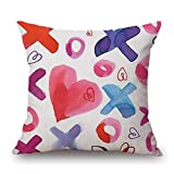 Linkla Danniol Pillow Case, Happy Valentine's Day Throw Pillow Case Sweet Love Square Cushion Cover 18