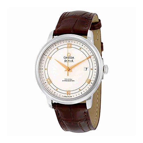 De Ville argento Omega Prestige 424,13.40,20.02,002 Orologio da uomo in pelle, colore: marrone