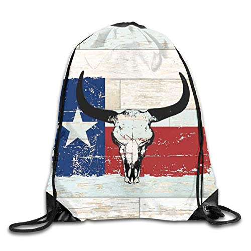 HRTSHRTE Drawstring Bags Vintage American State Texas Flag Bull Skull Drawstring Backpack Bag Men & Women Sport Gym Sack Cinch Bag -