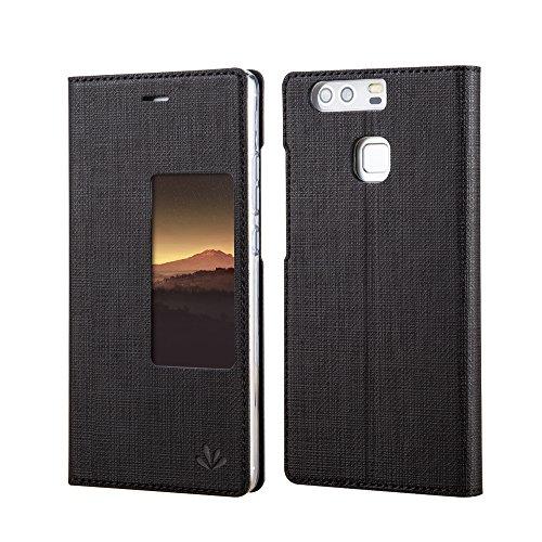 Huawei P9 Plus Hülle Feitenn Premium Case Cover PU Ledertasche Automatic Schlaf Und Aufwachen Fenster Schutzhülle Hülle Mit Standfunktion Handyhülle Für Huawei P9 Plus - Schwarz
