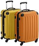 HAUPTSTADTKOFFER - Alex - 2er Koffer-Set Hartschale glänzend, 65 cm, 74 Liter, Gelb-Orange