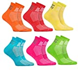 6 Paar ABS Sportliche ANTI-RUTSCH-Socken für KINDER – Atmende BAUMWOLLE – Glatter Fußboden, Trampoline, Gymnastik, Yoga, Kampfsport, Tanzen - Orange Rot Gelb Blau Grun Rosa Pack| Größen: EU 24-29,