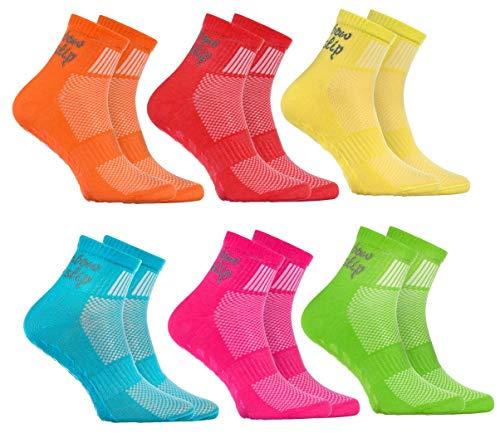 Rainbow Socks - Jungen Mädchen Sneaker Baumwolle Antirutsch Sport Stoppersocken - 6 Paar - Orange Rot Gelb Blau Grün Rosa - Größen EU 30-35