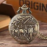 DIANN TaschenuhrHerren Taschenuhr Retro Bronze Schweiz Design Taschenuhren Cattle Quarzt Fob Halskette Anhänger Uhren für Männer