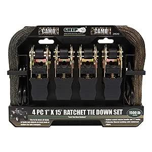 Grip 4 pc 1 x 15 Camo Ratchet Tie Down Set