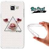 """BeCool® Fun - Coque Etui Housse en GEL Flex Silicone TPU Samsung Galaxy A5 2016 , protège et s'adapte a la perfection a ton Smartphone et avec notre design exclusif.Dessin Cochon """"Be Vegan"""""""