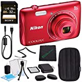 Nikon COOLPIX S3700 Digital Camera (Red) MFR 26477 + Sony 32GB UHS-I SDHC Memory Card (Class 10) + SD/microSD Memory Card Reader + Microfiber Cleaning Cloth + Small Carrying Case Bundle
