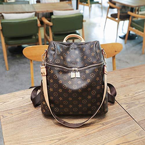 LFGCL Taschen Frauen, koreanische Version des Wilden Lederrucksacks mit doppeltem Verwendungszweck, Braun