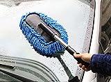 Winthome Duster Staubwischer einziehbare Auto Microfiber Autowasch Bürste Staubbesen Staubwedel Staubentfernung Duster Staubbürste Staub Reinigung Staubtuch mit Abnehmbar Teleskopstiel blau (blue)