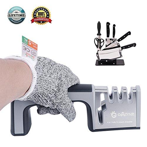 Messerschärfer Messerschleifer , Messerschleifmaschine 3-stufig Messer Schärfwerkzeug hilft Reparatur, Kitchen Knife Sharpener 4 in 1 +Schnittfeste Handschuhe(linke Hände, XL)