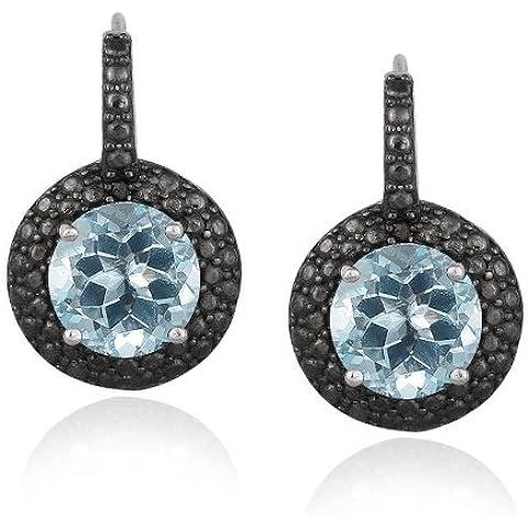 Argento Sterling, 5CT blu topazio e Nero Diamante Leverback Orecchini 19 - 5 Ct Orecchini Di Diamanti