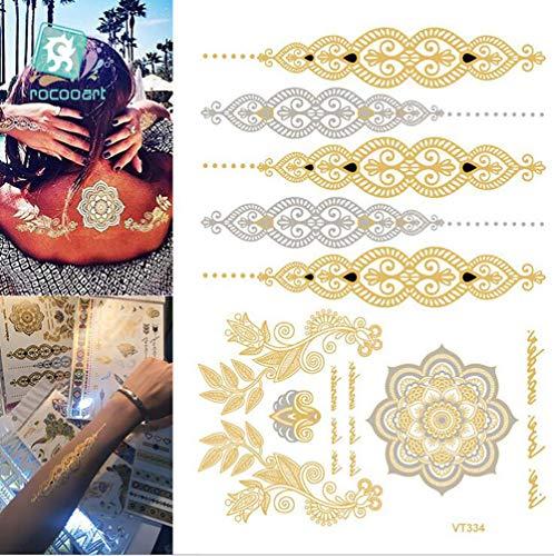 (OOSM&H Abwaschbares Tattoo Ungiftiges Wasserdichtes Metallisches 38 Blatt-Aristokratisches Waldarmband-Muster Im Goldsilbernen Aufkleber Für Frauen-Teenager-Mädchen-Körper-Kunst)