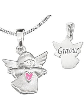 CLEVER SCHMUCK-GRAVUR-SET Silberner Anhänger kleiner Kinderengel 11 x 13 mm seidenmatt mit Herz rosa und Kette...