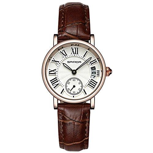 Montres pour les femmes, montre-bracelet de montre de quartz analogique de quartz de dame analogique classique(Brown Strap)