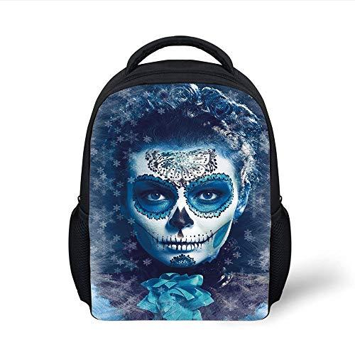 Kids School Backpack Sugar Skull Decor,Santa Muerte Concept Winter Ice Cold Snowflakes Frozen Dead Folkloric,Multicolor Plain Bookbag Travel Daypack