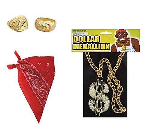 08e7a719fbbe Mega Jumble® Hip Hop 90s Street Rapper Men s 3 Piece Set- Gold Dollar  Necklace